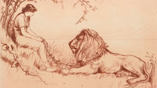 etching of a drawing of a woman and a lion