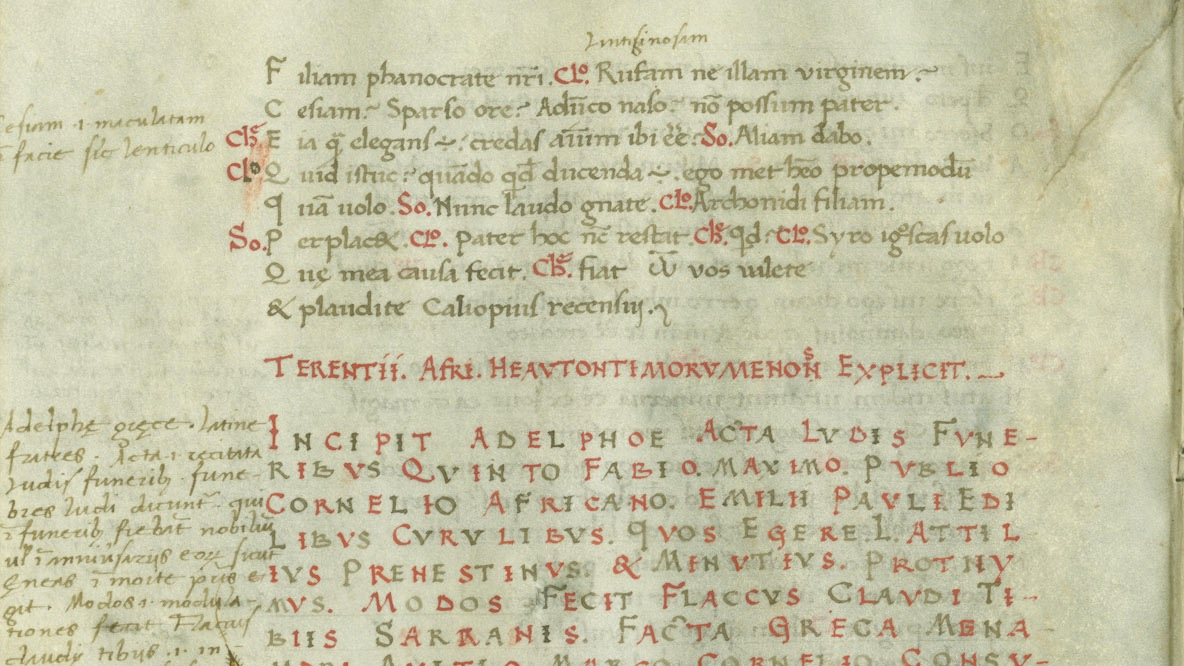 page from 1462 manuscript edition of six plays of the Roman playwright Terence