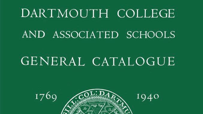 image of the cover of the Dartmouth College and Associated Schools General Catalogue, 1769-1940
