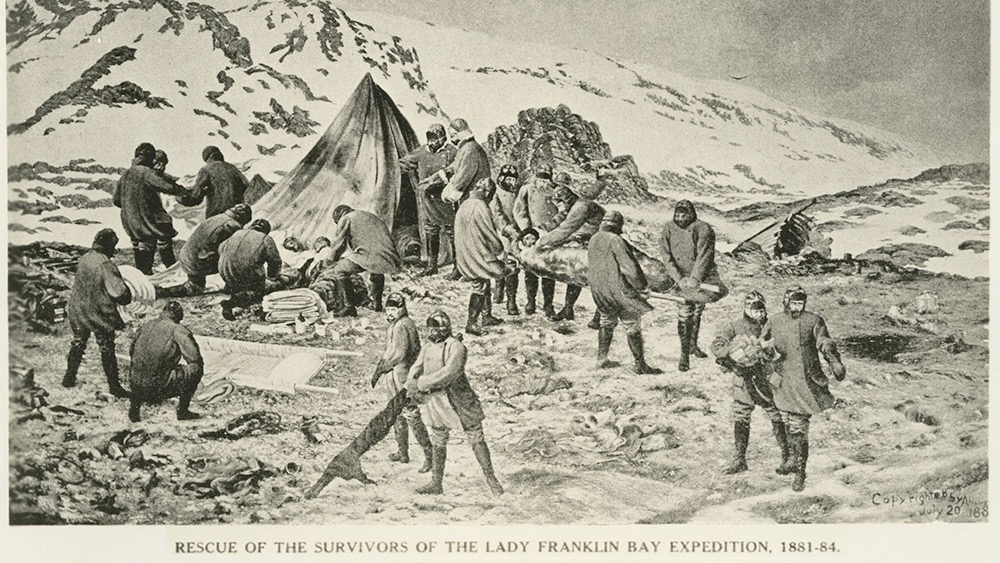 painting of the survivors of the Lady Franklin Bay Expedition, 1884