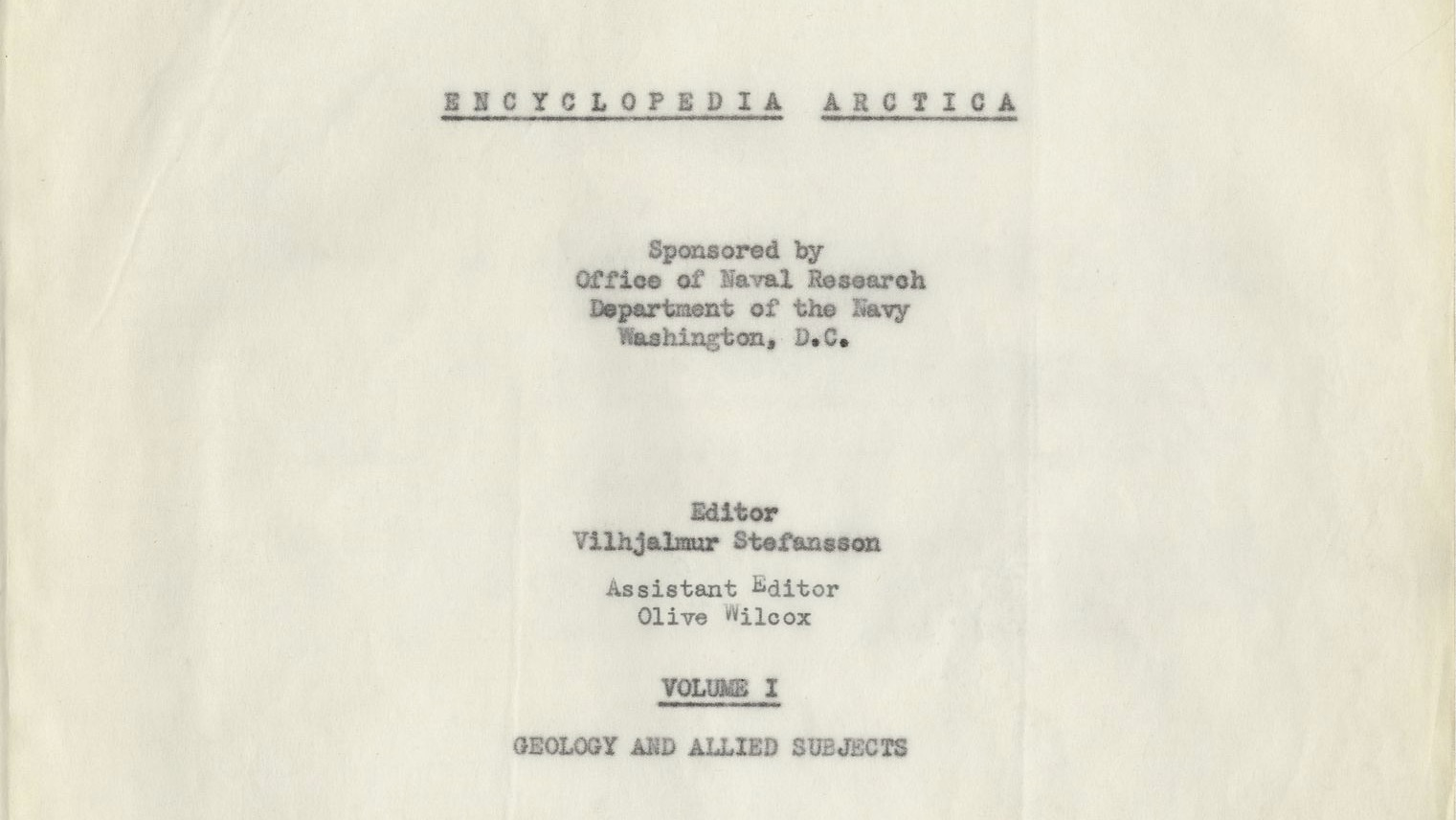 scan of the title page of the Encyclopedia Arctica