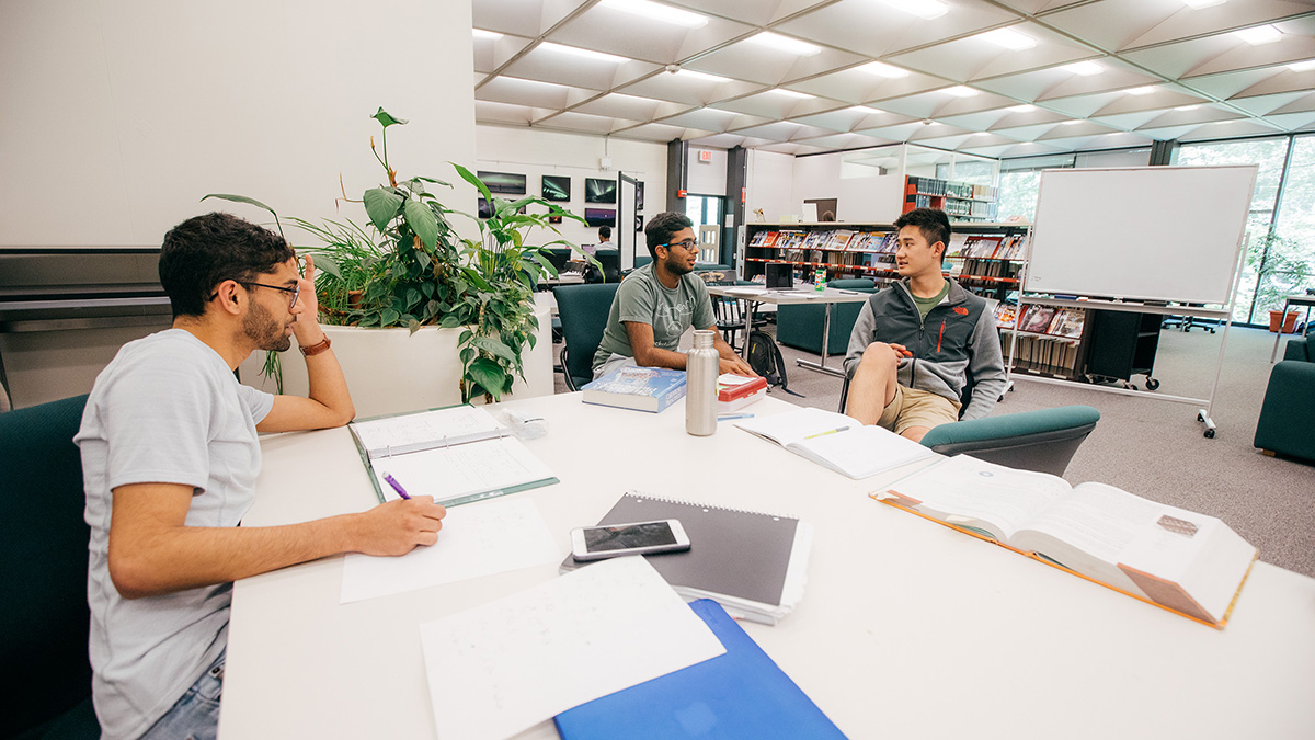 Students studying in the Kresge Library at Dartmouth College