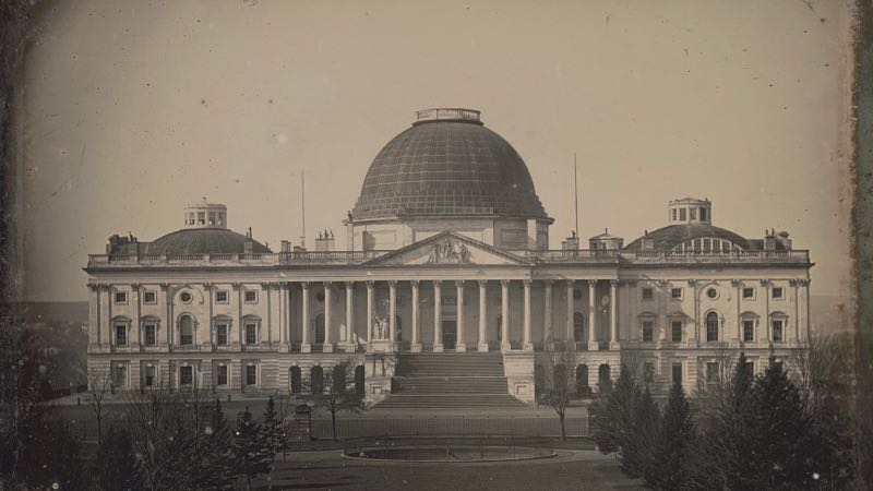image of the US capitol under construction from the Library of Congress