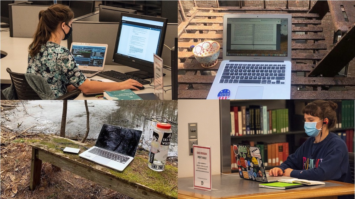 Collage of student remote learning and studying at the library