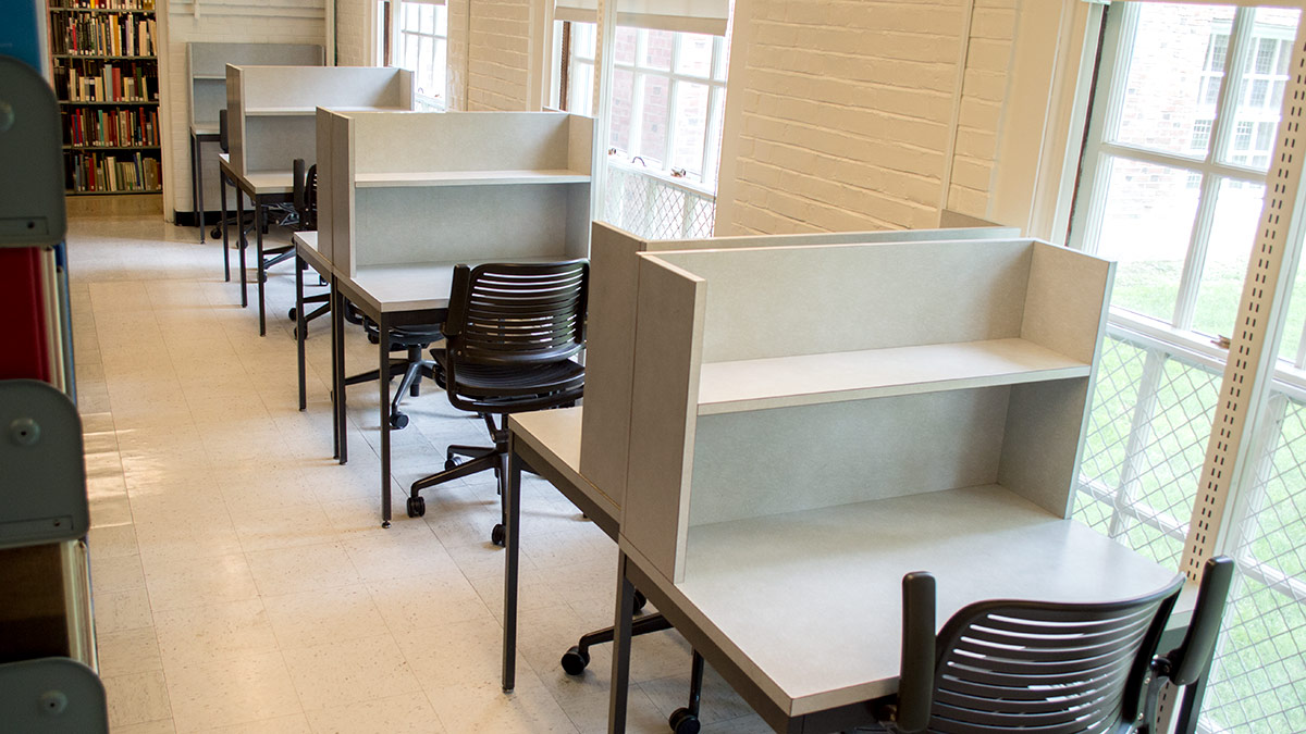 Sherman Library mid-level study carrels