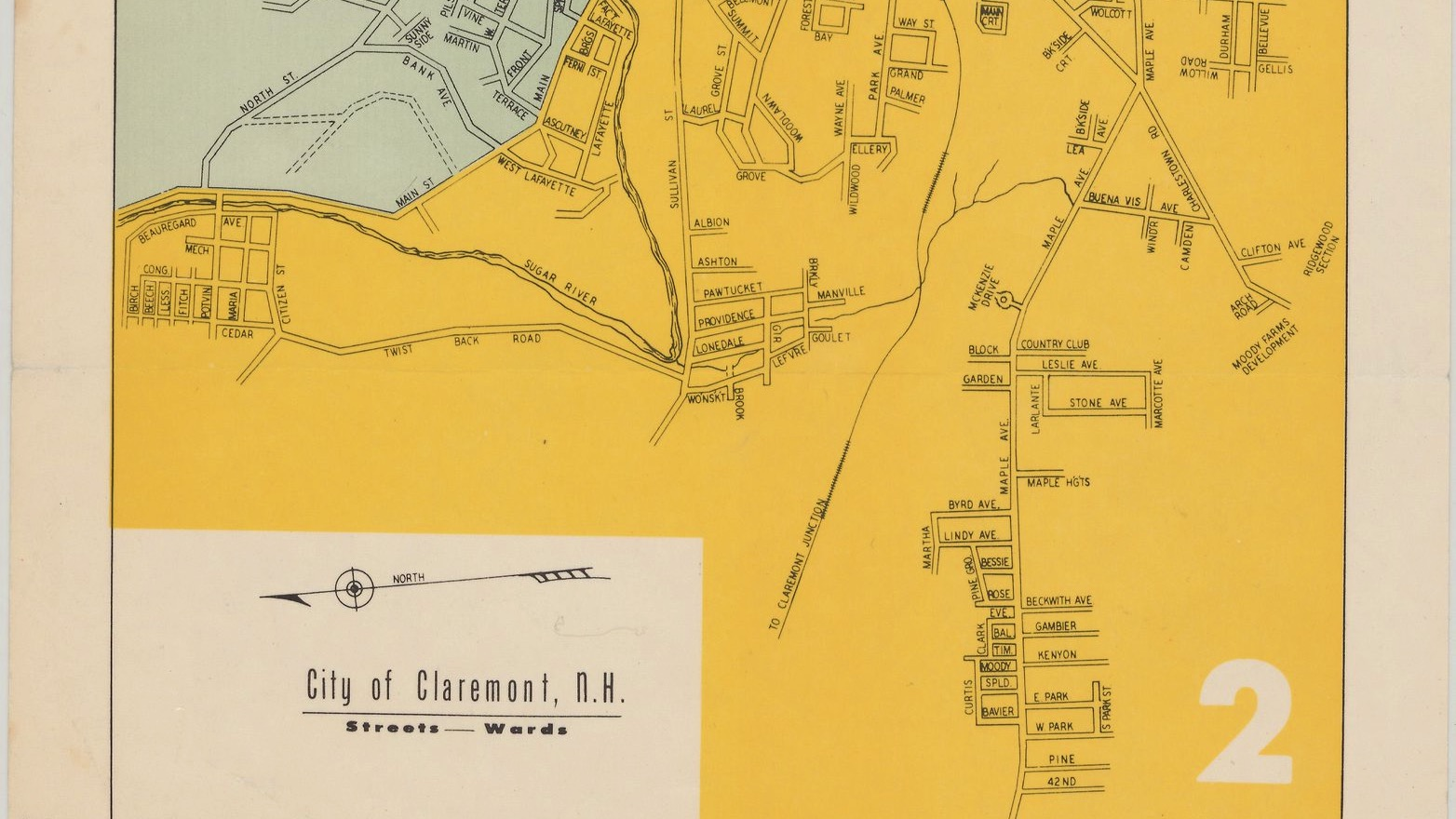 map of the city of Claremont, NH