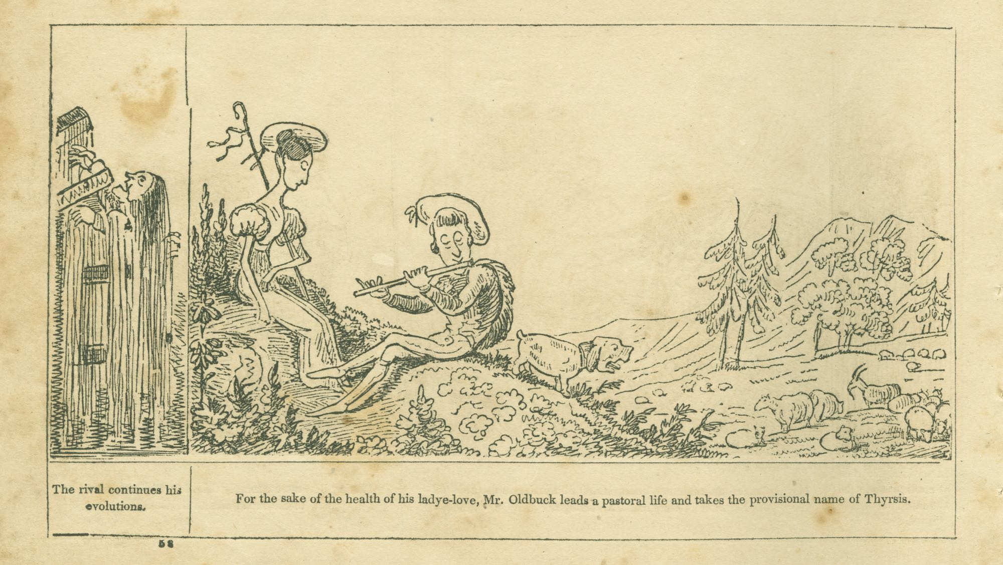 cartoon of a man playing a flute next to a woman