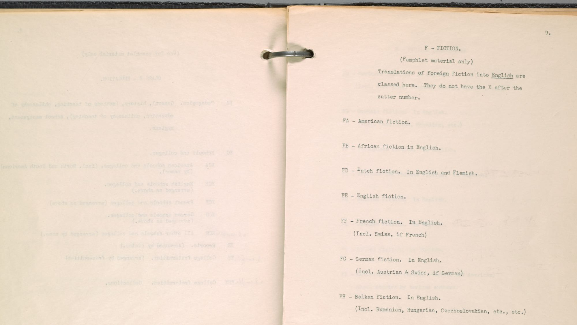 scan of subject classification system used at the Dartmouth Library in the early 20th century