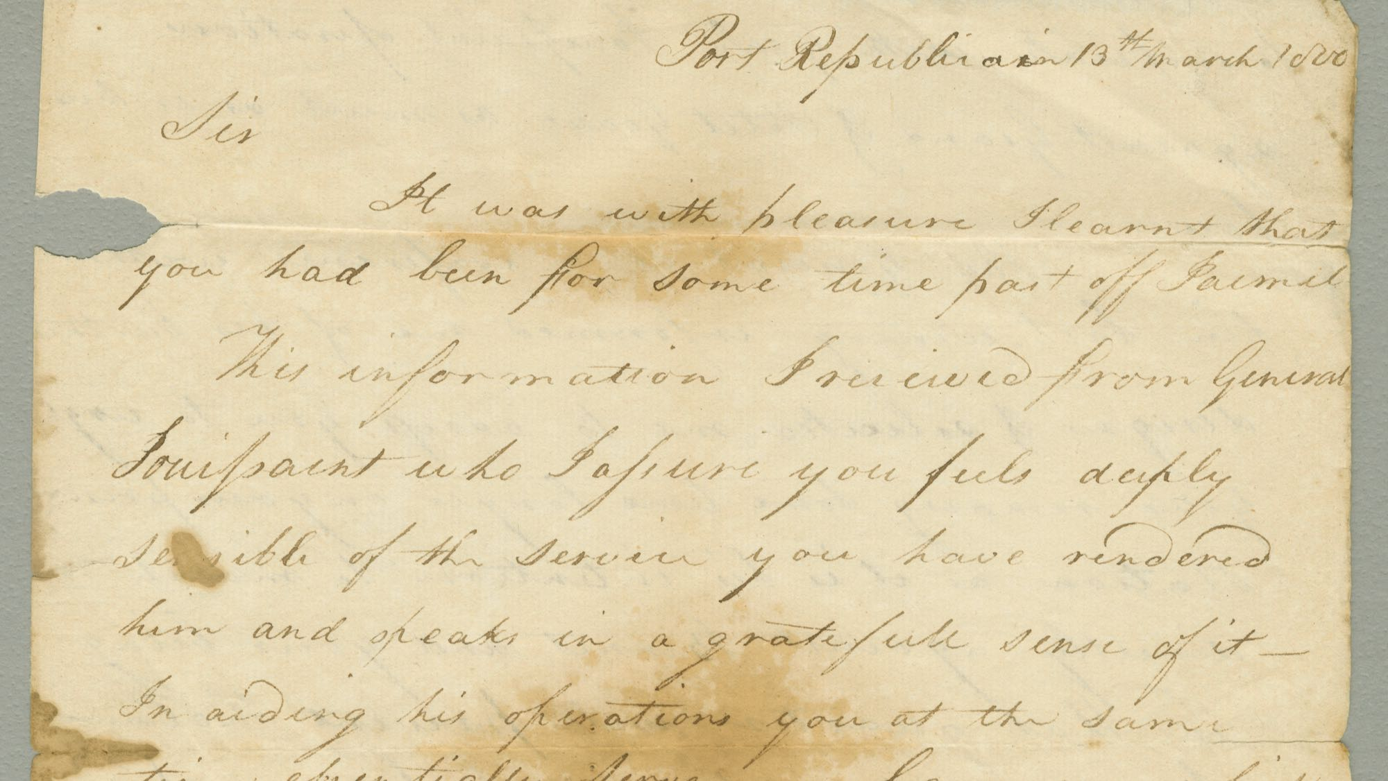 image of a document from the Correspondence of Commodore Oliver Hazard Perry