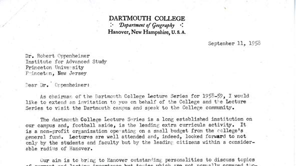 letter inviting J Robert Oppenheimer to lecture at Dartmouth College