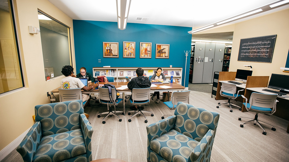 Students study in the Paddock Music Library at Dartmouth
