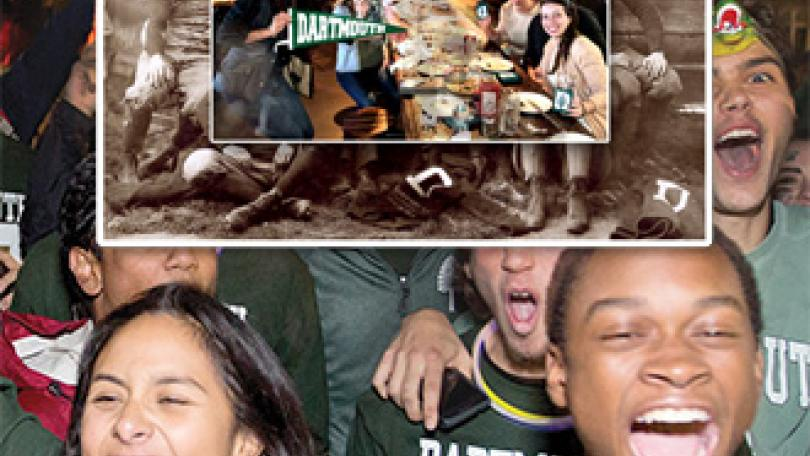 Students laughing and wearing Dartmouth gear, other photos of students from years past