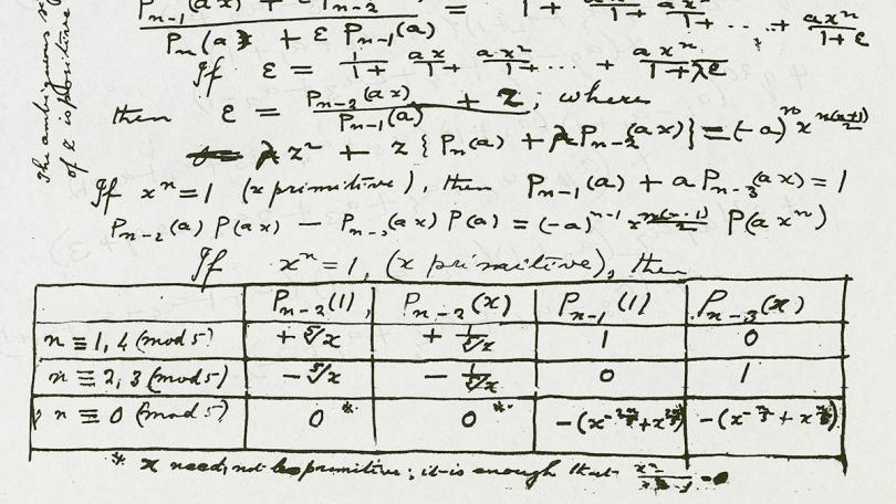 Handwritten notes of mathematical formulas and a chart