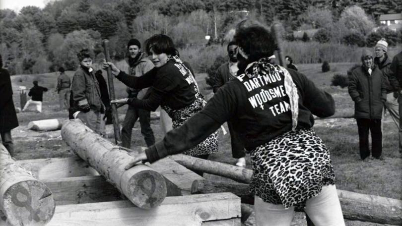 Female students participating in the 1986 Woodsmen's Weekend competition
