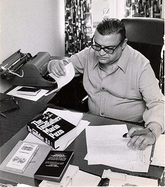 Mario Puzo in his office.