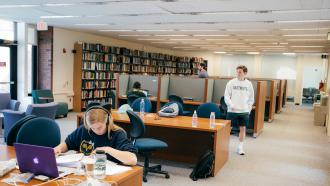 Students study in the Feldberg Library at Dartmouth