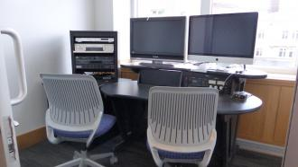 Editing room in the Jones Media Center at Dartmouth Library