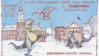 Poster of winter carnival at Dartmouth featuring dinosaurs
