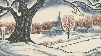Drawing of a tree and church