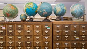 Globes on drawers