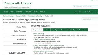 Classics and Archeology Research Guide page