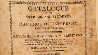 Catalogue of students and staff at Dartmouth in 1817