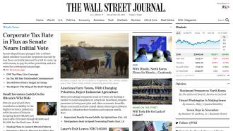Front page of the Wall Street Journal web site