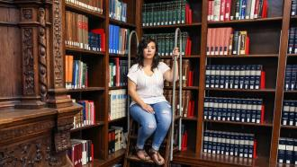Melissa Padilla at the Dartmouth College library in Hanover, N.H.